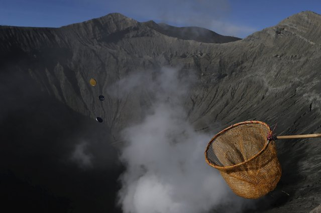 A man holds out a net in an attempt to catch coins thrown as offerings by Hindu worshippers into the crater during the Kasada Festival at Mount Bromo in Probolinggo, Indonesia's East Java province, August 1, 2015. (Photo by Reuters/Beawiharta)