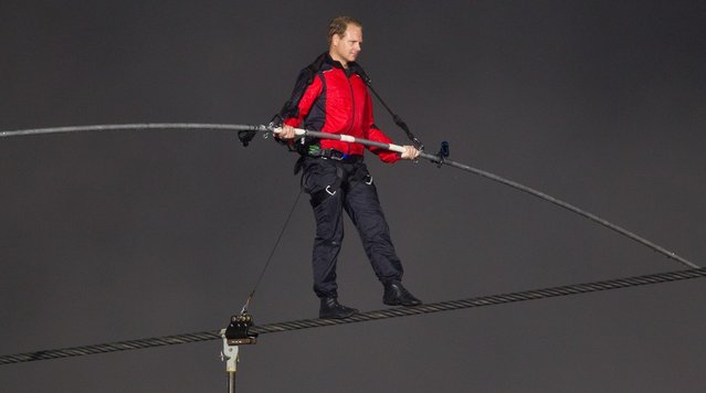 Aerialist Nik Wallenda Attempts To Cross Niagara Falls On A Tightrope