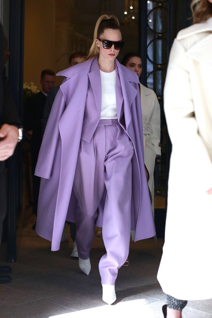 Model Cara Delevingne seen leaving hotel during Milan Fashion Week Fall/Winter 2020-2021 in Milan, Italy on February 23, 2020. Cara is seen out not wearing a mask despite the Coronavirus scare. (Photo by Backgrid USA)