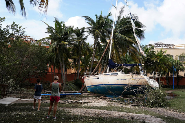 Wrecked boats that have come ashore are pictured in Coconut Grove following Hurricane Irma in Miami, Florida, U.S., September 11, 2017. (Photo by Carlo Allegri/Reuters)