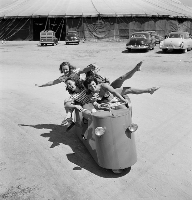 "In 1949, LIFE magazine sent famed photographer Nina Leen to document the daily life of a sassy troupe of young women who had run off and joined the famous Barnum & Bailey Circus in Sarasota, Fla. What developed was a portrait of a sisterhood formed over acrobatics that mixed high-flying wire acts with fashionable high-waisted shorts. Sarasota was once considered ""the home of the American circus"". (Photo By Nina Leen/Time Life Pictures/Getty Images)"
