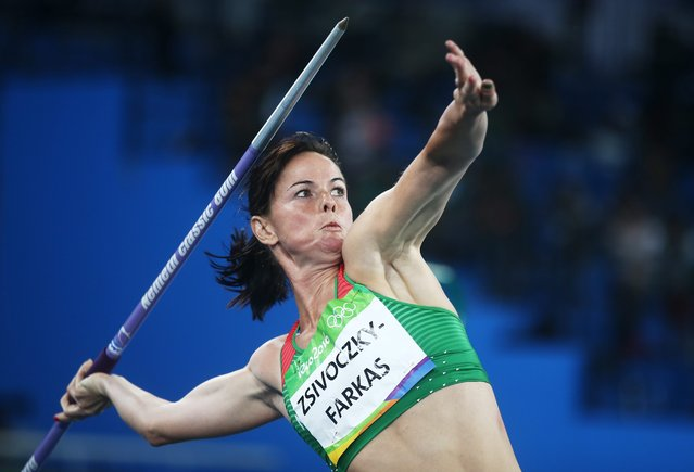 Gyorgyi Zsivoczky-Farkas of Hungary competes in the Javelin Throw portion of the Heptathlon event of the Rio 2016 Olympic Games Athletics, Track and Field events at the Olympic Stadium in Rio de Janeiro, Brazil, 13 August 2016. (Photo by Diego Azubel/EPA)