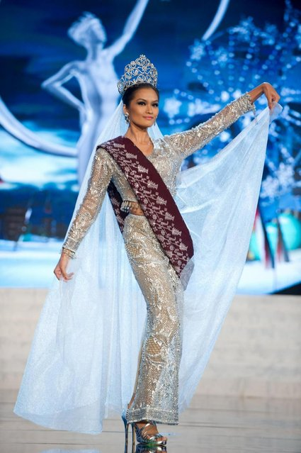 Miss Philippines 2012, Janine Tugonon, performs onstage at the 2012 Miss Universe National Costume Show on Friday, December 14, 2012 at PH Live in Las Vegas, Nevada. The 89 Miss Universe Contestants will compete for the Diamond Nexus Crown on December 19, 2012. (Photo by AP Photo/Miss Universe Organization L.P., LLLP)