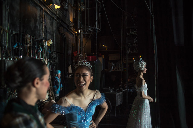 "Dancers of the Czech National Ballet wait backstage during a performance of ""The Nutcracker – A Christmas Carol"" at the National Theatre in Prague, Czech Republic, late 16 December 2017. Peter I. Tchaikovsky's ""The Nutcracker"", one of his most famous compositions and seasonal ballets, premiered in St. Petersburg, Russia, on 18 December 1872, celebrates its 125th anniversary this year. (Photo by Martin Divisek/EPA/EFE)"