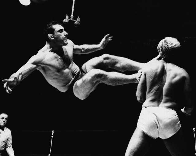 Buenos Aires heavyweight Antonio Rocca bites his tongue as he plants both feet on the shoulder and neck of Gene Stanles in their wrestling exhibition at Madision Square Garden in New York on December 12, 1949. (Photo by AP Photo)