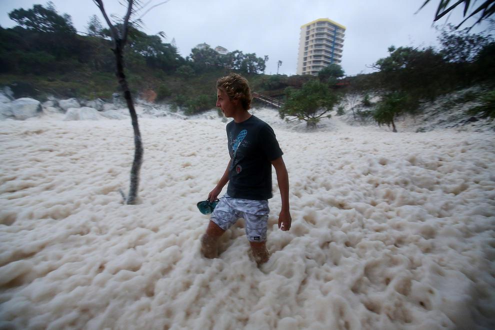 Cyclone Leaves Mooloolaba Covered in Foam