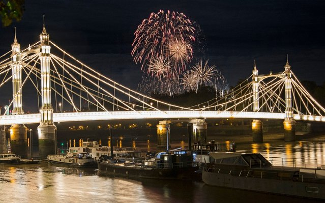 The Battersea Park fireworks over Albert Bridge, in London, England on November 4, 2017. (Photo by Victoria Jones/PA Images via Getty Images)