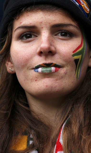 A supporter of South Africa looks on before the Rugby World Cup quarter-final against Wales at Twickenham in London, United Kingdom October 17, 2015. (Photo by Andrew Couldridge/Reuters)