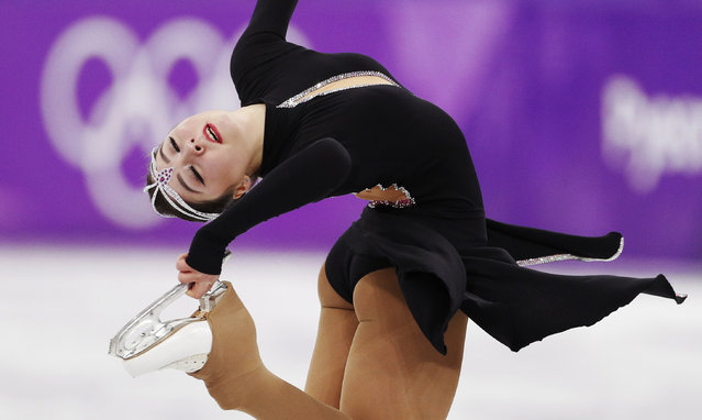 Kazakhstan' s Aiza Mambekova competes in the women' s single skating short program of the figure skating event during the Pyeongchang 2018 Winter Olympic Games at the Gangneung Ice Arena in Gangneung on February 21, 2018. (Photo by John Sibley/Reuters)