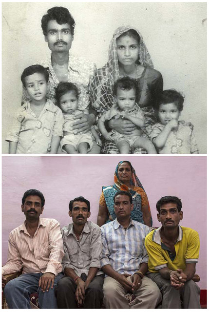 In a combination picture Lata Bai (top right) is seen with her husband Ashok Badgujjar and their four sons in an undated family photograph (top) and (bottom) Lata Bai (top right) is seen with her four sons in Bhopal November 12, 2014. Bai said that Badgujjar died as a result of gas poisoning after the 1984 Bhopal disaster. (Photo by Danish Siddiqui/Reuters)