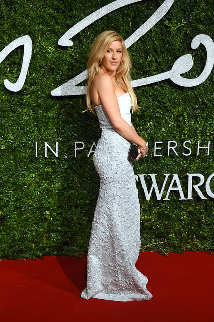 Singer Ellie Goulding poses for photographers upon arrival at The British Fashion Awards 2014, in London, Monday, December 1, 2014. (Photo by Jonathan Short/Invision/AP Photo)