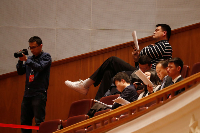 Retired basketball player Yao Ming attends the second plenary session of the National People's Congress (NPC) at the Great Hall of the People in Beijing, China, March 9, 2018. (Photo by Damir Sagolj/Reuters)