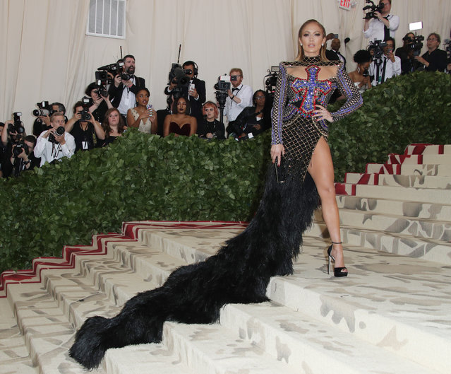 Jennifer Lopez attends The Metropolitan Museum of Art's Costume Institute benefit gala celebrating the opening of the Heavenly Bodies: Fashion and the Catholic Imagination exhibition on Monday, May 7, 2018, in New York. (Photo by Matt Baron/Rex Features/Shutterstock)