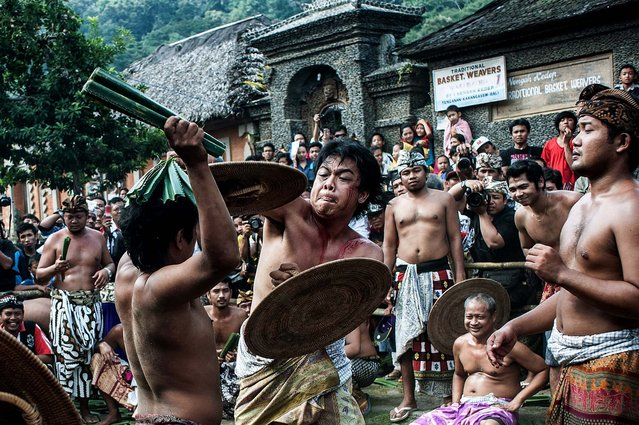 """Men fight each other using thorny pandanus leaves in Tenganan, Karangasem, Bali, Indonesia, on June 25, 2013.  Every year Tengananese people in the island of Bali celebrate a monthlong ceremony called """"Usabha Sambah"""" to demonstrate respect to the God Indra, the Hindu god of war. One of the rituals during the ceremony is a Pandanus War or """"Mekare Kare"""", where two Tengananese men duel using thorny pandanus as their weapons. (Photo by Putu Sayoga/Getty Images)"""