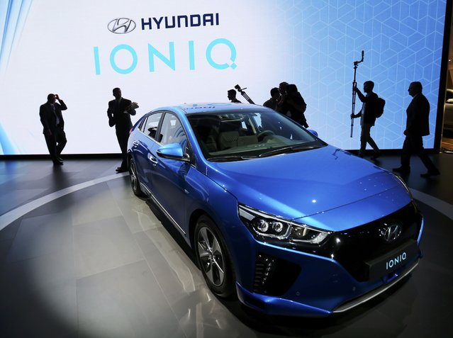 Hyundai introduces its Hyundai Ioniq electric car at the 2016 Los Angeles Auto Show in Los Angeles, California, U.S November 16, 2016. (Photo by Mike Blake/Reuters)