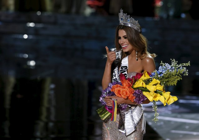 Miss Colombia Ariadna Gutierrez gives a thumbs up after initially being crowned as the winner during the 2015 Miss Universe Pageant in Las Vegas, Nevada December 20, 2015. Host Steve Harvey said he made a mistake when reading the card and and Miss Philippines Pia Alonzo Wurtzbach is the actual winner. (Photo by Steve Marcus/Reuters)
