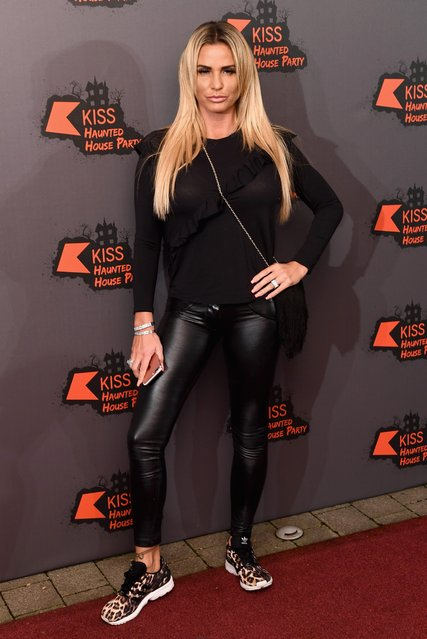 Katie Price attends the Kiss FM Haunted House Party at SSE Arena on October 27, 2016 in London, England. (Photo by Luca Teuchmann/WireImage)