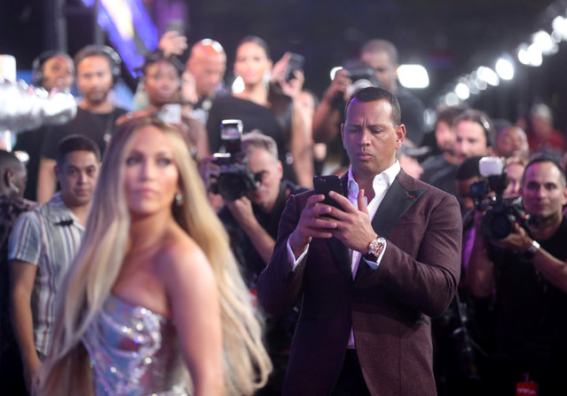 Jennifer Lopez and Alex Rodriguez arrive at the MTV Video Music Awards at Radio City Music Hall in New York on August 21, 2018. (Photo by Carlo Allegri/Reuters)