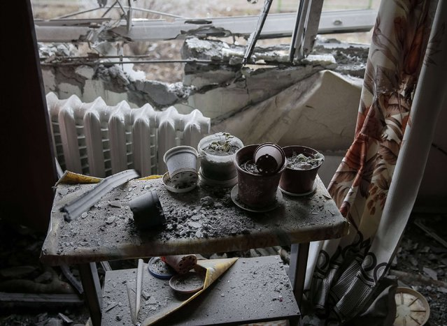 A damaged flat is seen after shelling in recent days in Svitlodarsk, eastern Ukraine, February 15, 2015. (Photo by Gleb Garanich/Reuters)