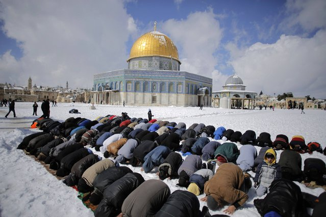 Palestinian men pray in front of the snow-covered Dome of the Rock on the compound known to Muslims as Noble Sanctuary and to Jews as Temple Mount, in Jerusalem's Old City February 20, 2015. (Photo by Ammar Awad/Reuters)