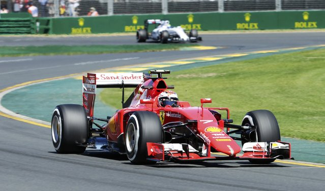 Ferrari Formula One driver Kimi Raikkonen of Finland drives during the first practice session of the Australian F1 Grand Prix at the Albert Park circuit in Melbourne March 13, 2015.   REUTERS/Mark Dadswell