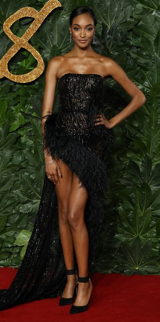 English model Jourdan Dunn poses on the red carpet upon arrival to attend the British Fashion Awards 2018 in London on December 10, 2018. (Photo by Daniel Leal-Olivas/AFP Photo)