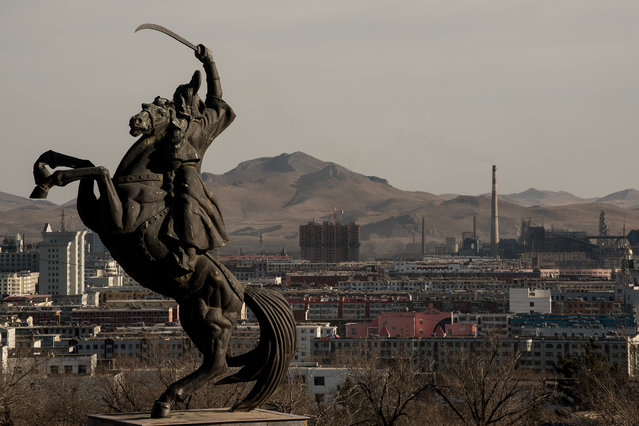 A statue of Genghis Khan in Ulan Hot. Genghis created history's largest contiguous land empire. (Photo by Gilles Sabrie/The Washington Post)