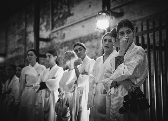 Models prepare backstage ahead of the Ellery show at Mercedes-Benz Fashion Week Australia 2015 at Carriageworks on April 12, 2015 in Sydney, Australia.  (Photo by Ryan Pierse/Getty Images)
