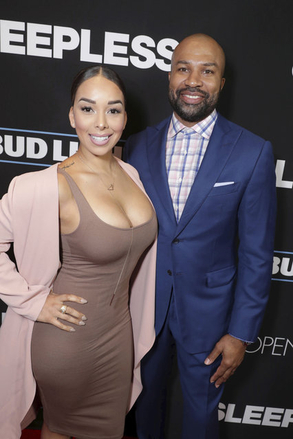"Gloria Govan and Derek Fisher seen at Open Road Films' ""Sleepless"" Los Angeles Premiere at Regal LA LIVE on Thursday, January 5, 2016, in Los Angeles. (Photo by Eric Charbonneau/Invision for Open Road Films/AP Images)"