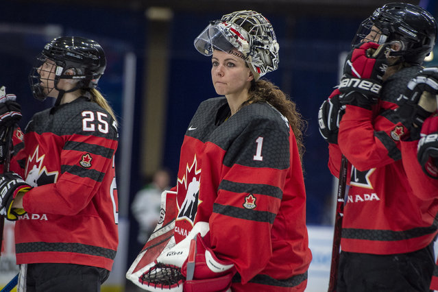 In this November 10, 2018, file photo, Canada goaltender Shannon Szabados watches as U.S. players celebrate during the Four Nations Cup hockey gold-medal game in Saskatoon, Saskatchewan. A person with direct knowledge of the decision tells The Associated Press that the owner of the Buffalo Beauts has given up control of the National Women's Hockey League franchise. The person spoke to The AP on Wednesday, May 8, 2019, on the condition of anonymity because the decision won't be announced until later in the day. This further jeopardizes the league's future as it struggles to keep its five franchises afloat, and without the support of the world's top players. On Thursday, the NWHL learned it will have difficulty restocking its rosters after more than 200 of the world's top female players pledged they'll not compete professionally in North America next season. The group included a vast majority of Beauts players, including U.S. national team defenseman Emily Pfalzer and Canadian national team goalie Shannon Szabados. (Photo by Liam Richards/The Canadian Press via AP Photo/File)