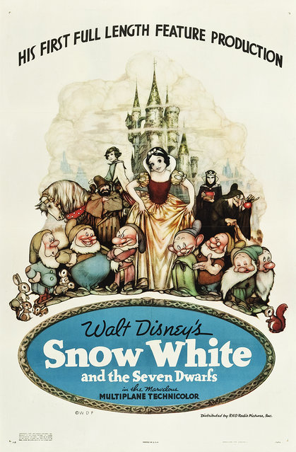 """Snow White and the Seven Dwarfs (RKO, 1937). One Sheet (27.5"""" X 41"""") Style B with the artwork of Gustaf Tenggren. Walt Disney invested $1,500,000 and three years of hard work, along with the combined talents of 570 artists, into the production of this animation triumph. The film was a huge success, earning 8.5 million Depression-Era dollars. Estimate: $8,000 - $16,000. (Photo by Courtesy Heritage Auctions)"""