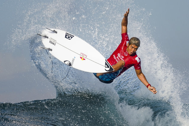 Kanoa Igarashi of Japan advances to Round 4 of the 2019 Corona Bali Protected after winning Heat 15 of Round 3 at Keramas on May 20, 2019 in Bali, Indonesia. (Photo by Damea Dorsey/WSL via Getty Images)
