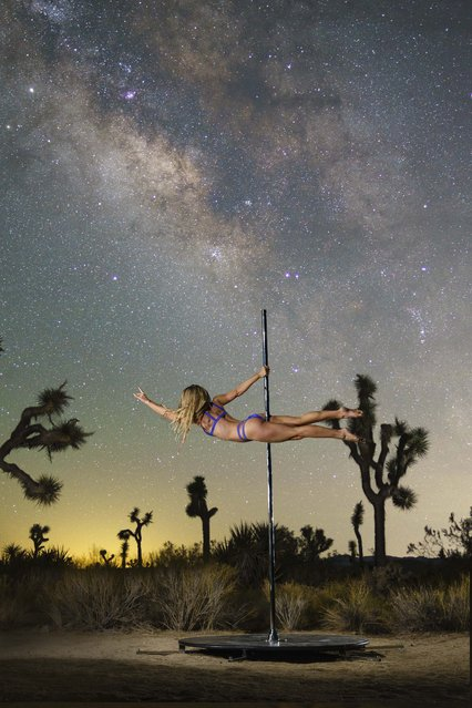 These stunning images show a group of aerial artists lighting up the night sky. Taken by photographer Casey Grimley, 37, the photos show pole dancers and aerial artists at various locations in Southern California, including the famed Joshua Tree National Park. Casey said that the images required thousands of hours of demanding rehearsals by each of the dancers. (Photo by Casey Grimley/Caters News Agency)