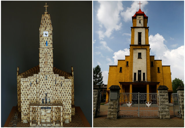 A combination picture shows Holy Spirit Church in Ruda Slaska and its replica made by Janusz Urbanski from matchsticks in Ruda Slaska, Poland May 4, 2016. (Photo by Kacper Pempel/Reuters)