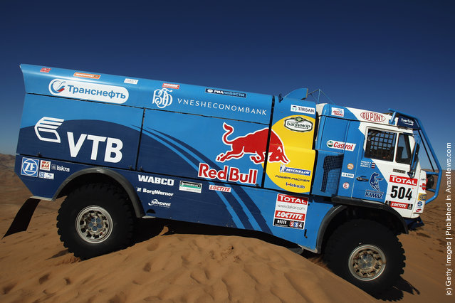 Ayrat Mardeev of Russia drives his Kamaz truck over a sand dune during stage seven of the 2012 Dakar Rally