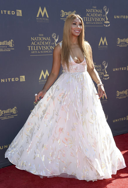 Tamar Braxton arrives at the 44th Annual Daytime Emmy Awards at the Pasadena Civic Center on Sunday, April 30, 2017, in Pasadena, Calif. (Photo by Richard Shotwell/Invision/AP Photo)