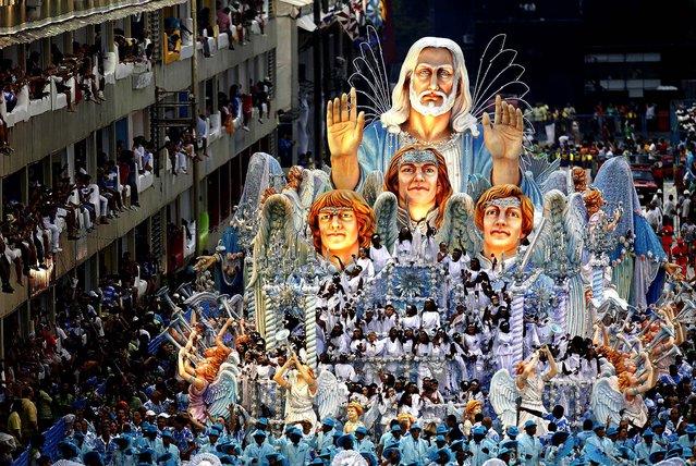 A float from the Beija Flor samba school parades through the Sambadrome in Rio de Janeiro