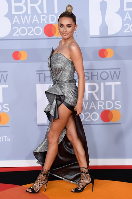 UK Love Island winner Amber Davies poses as she arrives for the Brit Awards at the O2 Arena in London, Britain, February 18, 2020. (Photo by David Fisher/Rex Features/Shutterstock)