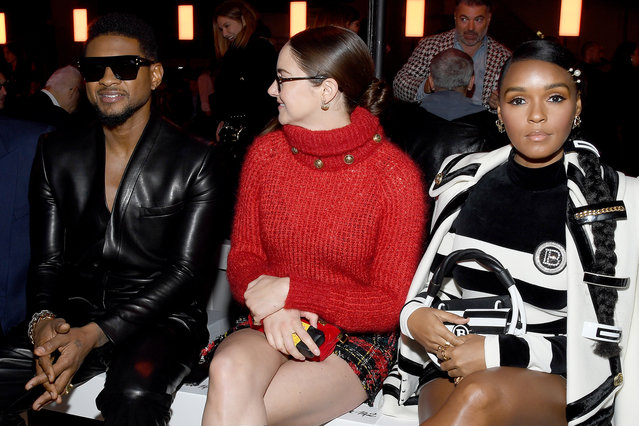 (L-R) Jenn Goicoechea, Usher, Shailene Woodley and Janelle Monae attend the Balmain show as part of the Paris Fashion Week Womenswear Fall/Winter 2020/2021 on February 28, 2020 in Paris, France. (Photo by Pascal Le Segretain/Getty Images)
