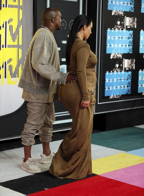 TV personality Kim Kardashian and musician Kanye West arrive at the 2015 MTV Video Music Awards in Los Angeles, California, August 30, 2015. (Photo by Danny Moloshok/Reuters)