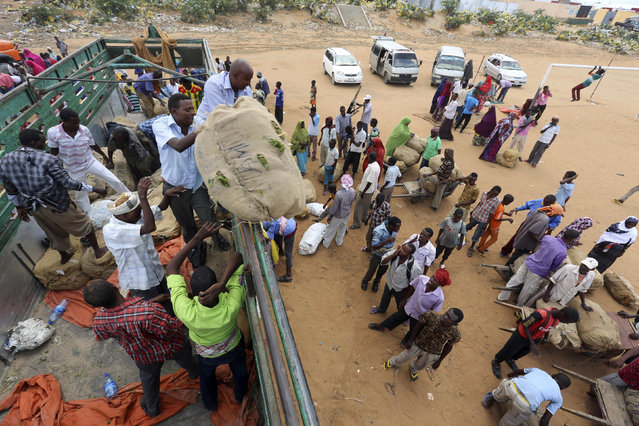 Porters gather around a truck carrying khat in Mogadishu August 6, 2014. (Photo by Thomas Mukoya/Reuters)
