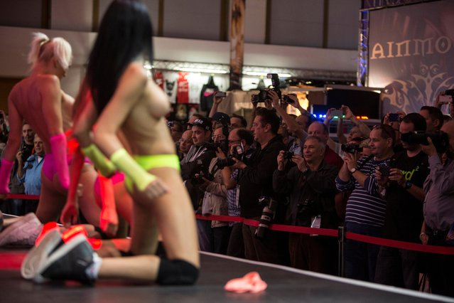 Journalists and visitors watch entertainers perform on stage at the Venus erotic trade fair in Berlin, Germany, 12 October 2017. (Photo by Omer Messinger/EPA/EFE)