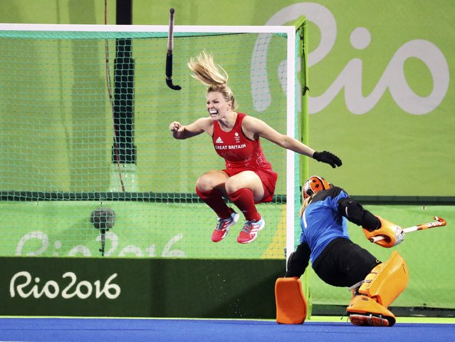 2016 Rio Olympics, Hockey, Final, Women's Gold Medal Match Netherlands vs Britain, Olympic Hockey Centre, Rio de Janeiro, Brazil on August 19, 2016. Hollie Webb (GBR) of Britain scores the deciding goal during the penalty shootout. (Photo by Vasily Fedosenko/Reuters)