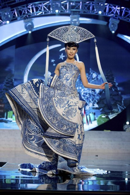 Miss China 2012, Ji Dan Xu, performs onstage at the 2012 Miss Universe National Costume Show on Friday, December 14, 2012 at PH Live in Las Vegas, Nevada. The 89 Miss Universe Contestants will compete for the Diamond Nexus Crown on December 19, 2012. (Photo by AP Photo/Miss Universe Organization L.P., LLLP)
