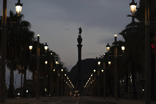 A seagull flies past the statue of Christopher Columbus in Barcelona, Spain, Thursday, July 2, 2020. (Photo by Renata Brito/AP Photo)