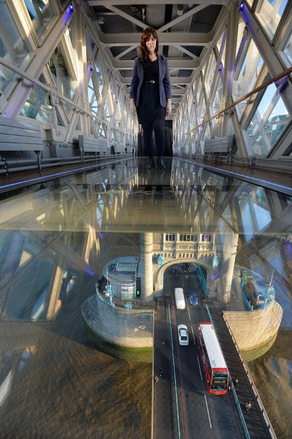 Daniella Marchesi walks across the 11 meter by 1.8 meter wide newly installed glass floor 138 feet above the River Thames at Tower Bridge, London, on November 10, 2014, after a £1 million improvement. The floor will allow visitors a view of the bridge lifts and is the most significant change since the Tower bridge Experience opening in 1982. (Photo by John Stillwell/PA Wire)