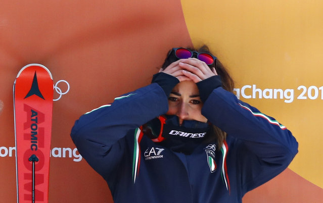 Sofia Goggia of Italy reacts after seeing her compatriot crashed in women's downhill alpine skiingl at Jeongseon Alpine Centre on February 21, 2018 in Pyeongchang-gun, South Korea. (Photo by Kai Pfaffenbach/Reuters)