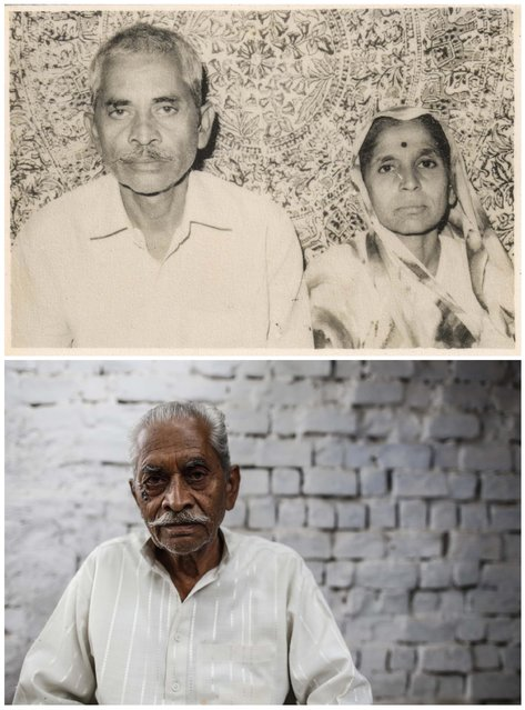 A combination picture shows Ram Chandra (L) with his wife Prema in an undated family photograph (top) and (bottom) Ram Chandra alone in Bhopal November 15, 2014. Chandra said that Prema died as a result of gas poisoning after the 1984 Bhopal disaster. (Photo by Danish Siddiqui/Reuters)