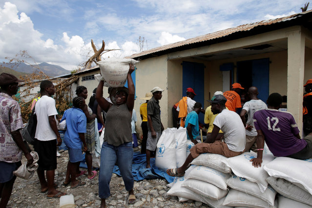 A woman lifts a sack during delivery of food after Hurricane Matthew in Les Anglais, Haiti, October 14, 2016. (Photo by Andres Martinez Casares/Reuters)