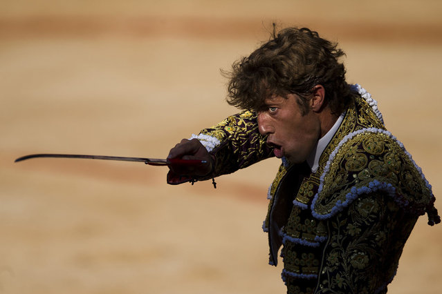 "Spanish bullfighter Manuel Escribano aims his sword before killing a Dolores Aguirre fighting bull during a bullfight of the San Fermin festival, in Pamplona, Spain, Monday, July 8, 2013. Revelers from around the world arrive to Pamplona every year to take part on some of the eight days of the running of the bulls glorified by Ernest Hemingway's 1926 novel ""The Sun Also Rises"". (Photo by Daniel Ochoa de Olza/AP Photo)"